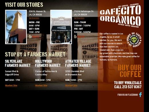 Cafecito Organico website