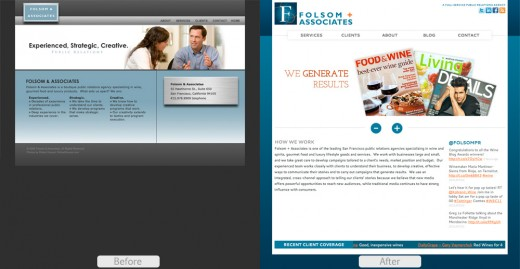 Folsom + Associates Landing Page Before and After